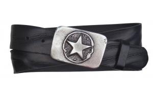 Jeansgürtel aus Leder schwarz mit Schnalle Stern