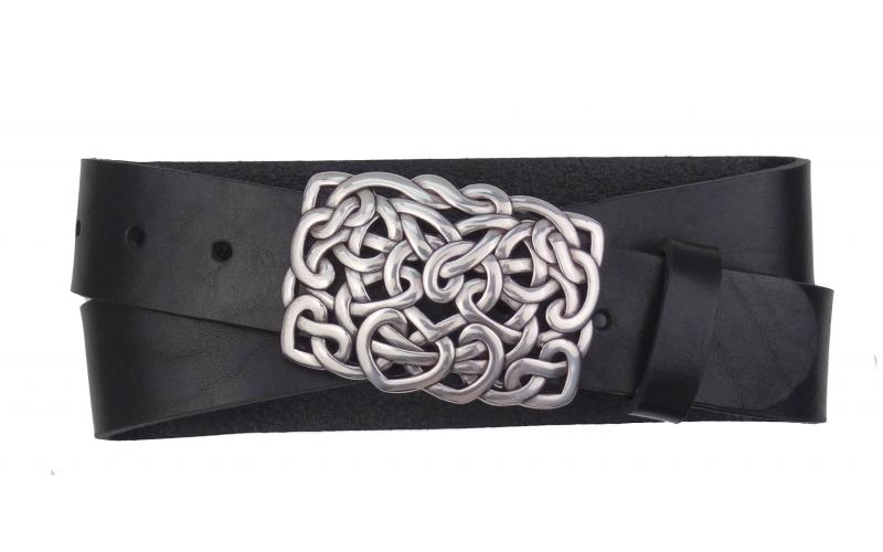 Damen Gürtel aus Leder schwarz mit Schnalle Herzen