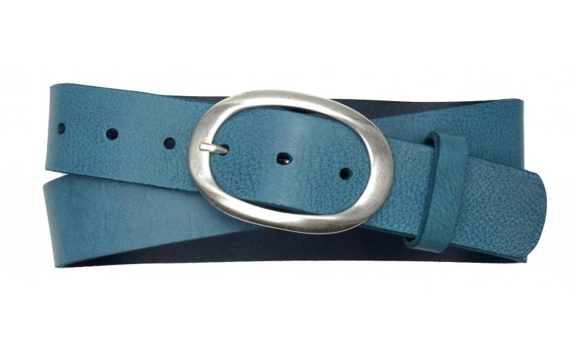 Damen Ledergürtel blau mit runder Schnalle
