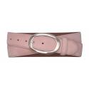 Velours Gürtel rosa mit geschlossener Schnalle