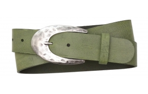 Damen Ledergürtel grün mit großer Schnalle