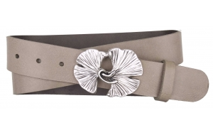 Jeansgürtel aus Leder beige mit Schnalle Ginkgo