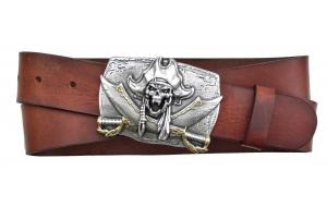 Herren Gürtel aus Leder braun mit Schnalle Pirat