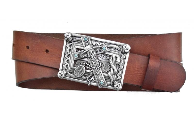 Herren Gürtel aus Leder braun mit Schnalle Mexican