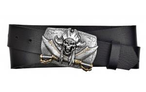 Herren Gürtel aus Leder schwarz mit Schnalle Pirat