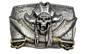Gürtelschnalle Pirat mit Totenkopf