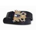 Ledergürtel aus Leder schwarz mit Diamant Frosch
