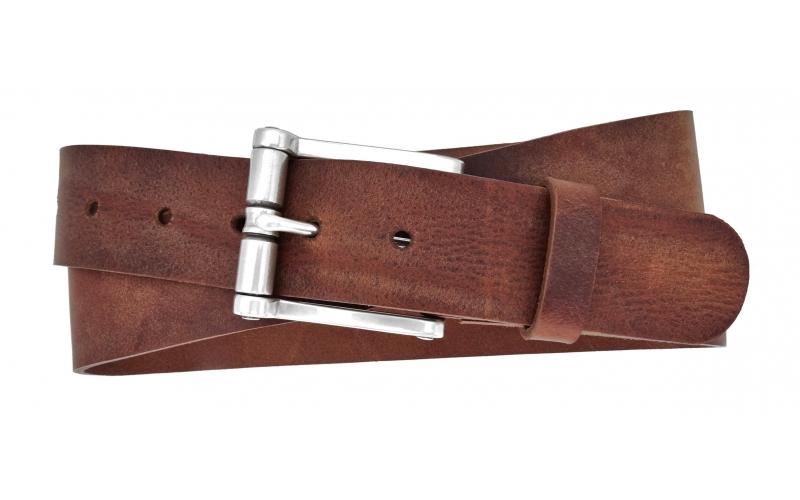 Herren Gürtel aus Leder in Braun mit Rollschnalle