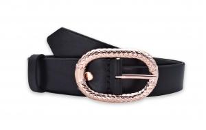 Damen Gürtel schwarz 3cm breit mit Schnalle in Rosegold