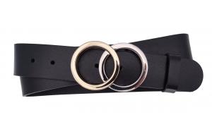 Jeansgürtel aus Leder schwarz mit Schnalle Ringe