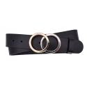 Damen Gürtel aus Leder schwarz mit Schnalle Ringe