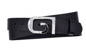 Damen Gürtel aus Leder schwarz mit Schnalle GI
