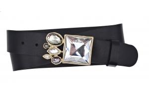Ledergürtel aus Leder schwarz mit Diamant Gold