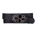 Damen Gürtel aus Leder schwarz mit Strass Blume