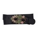 Damen Gürtel aus Leder schwarz mit Olive Blume