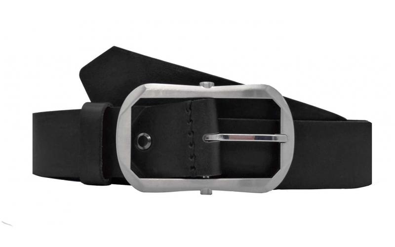 Eleganter Gürtel aus Leder schwarz mit Dornschnalle