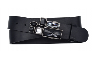 Damen Gürtel aus Leder schwarz mit Strassschnalle