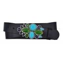 Damen Gürtel aus Leder schwarz mit Schnalle Türkise Blume