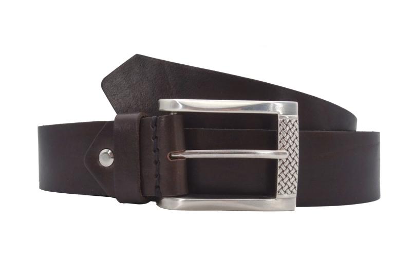 Ledergürtel dunkelbraun mit Schnalle in Silber