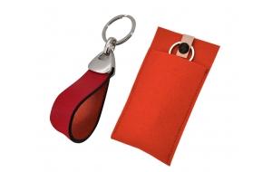 Schlüsselanhänger mit Leder rot
