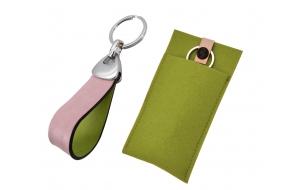 Schlüsselanhänger mit Leder rosa - grün