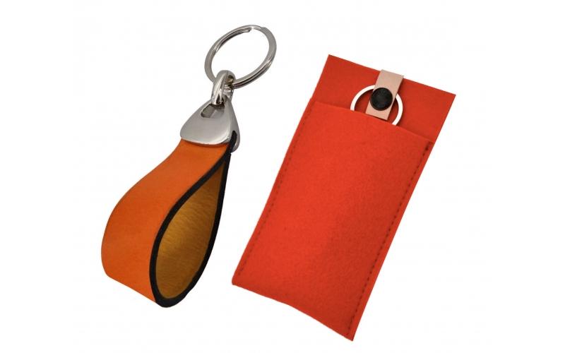 Schlüsselanhänger mit Leder orange