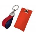 Schlüsselanhänger mit Leder rot - blau