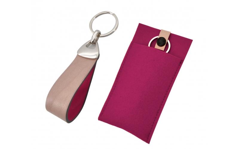 Schlüsselanhänger mit Leder beige - pink