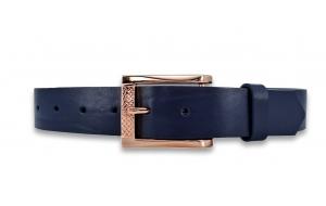 Ledergürtel blau 3,3 cm breit mit Schnalle in Rosegold