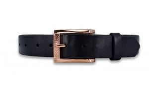 Ledergürtel schwarz 3,3cm mit Schnalle in Rosegold