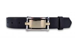 Ledergürtel schwarz 3,3cm mit Koppel Schließe