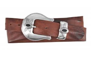 Westerngürtel aus Leder braun mit Schnalle John Wayne