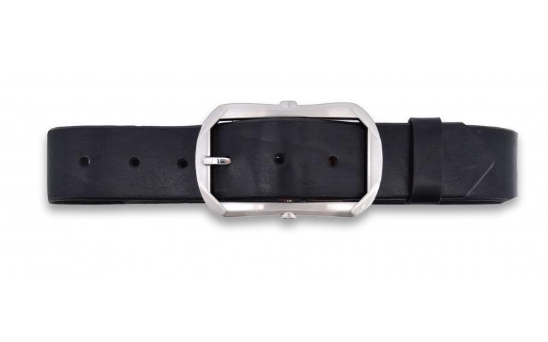 Lederürtel aus Leder schwarz mit Dornschnalle