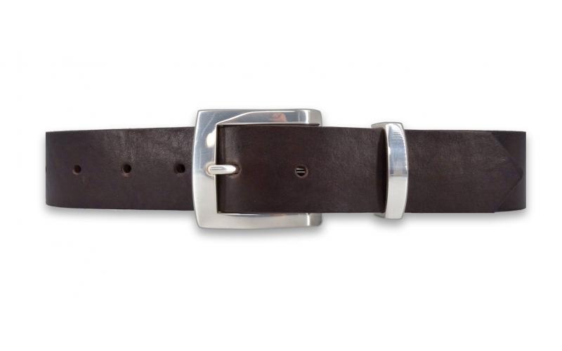 Ledergürtel dunkelbraun 3,3 cm breit mit Metallschlaufe