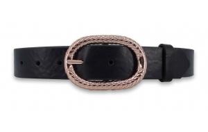 Ledergürtel schwarz ca. 3cm mit Schnalle in Rosegold