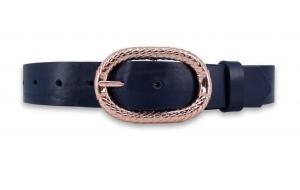 Ledergürtel blau ca. 3cm mit Schnalle in Rosegold