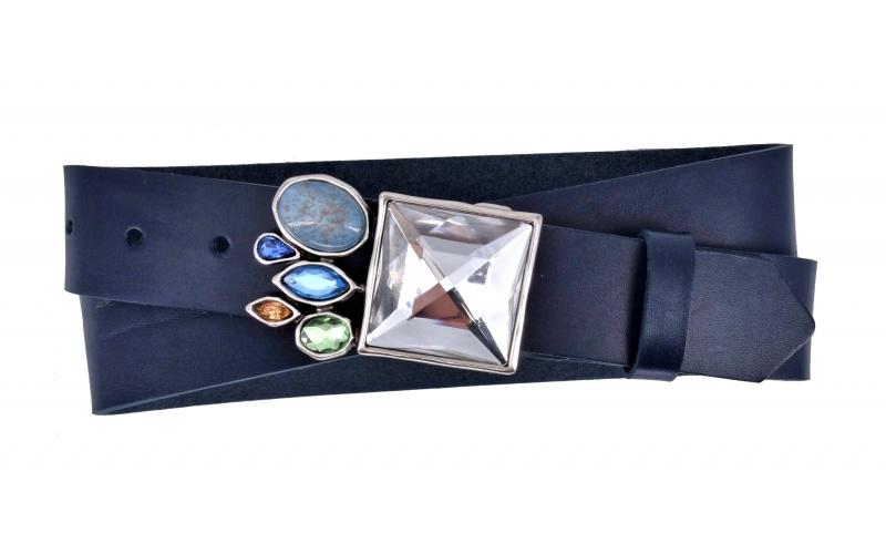 Ledergürtel aus Leder blau mit Big Diamond