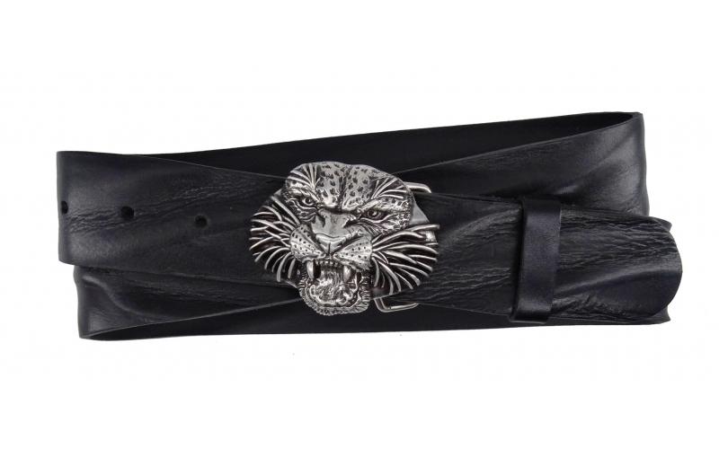 Damen Gürtel aus Leder schwarz mit Tigerkopf