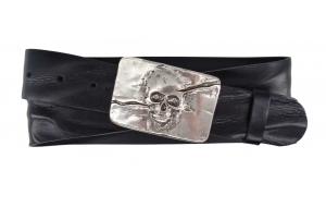 Damen Gürtel aus Leder schwarz mit Schnalle Totenkopf