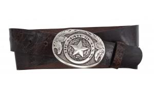 Westerngürtel aus Büffelleder braun mit Texas Schnalle