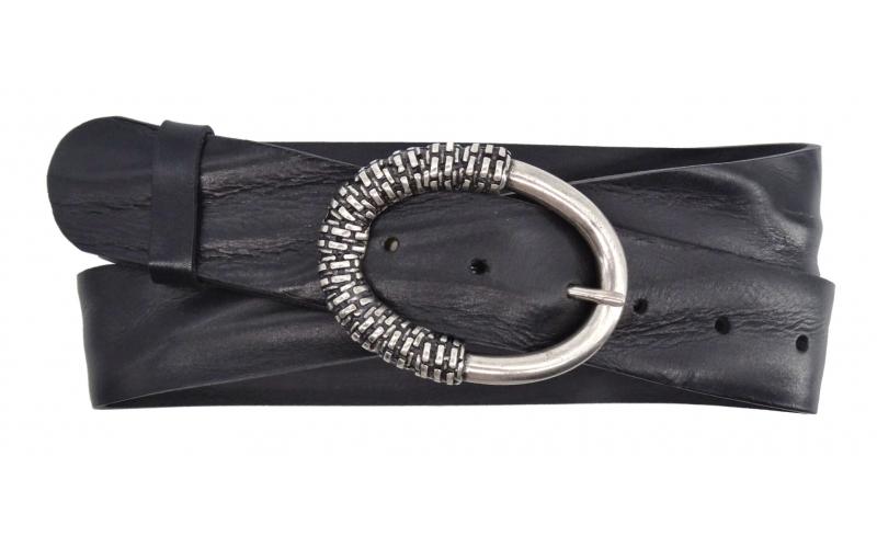 Damen Gürtel aus Leder schwarz mit geschlossener Schnalle