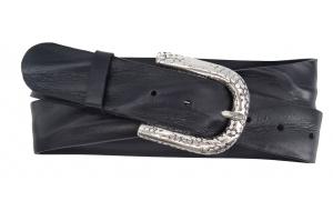 Damen Gürtel aus Leder schwarz mit Dornschnalle mit Muster
