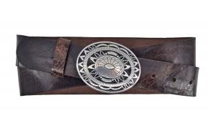 Westerngürtel aus Büffelleder braun mit Colorado Schnalle
