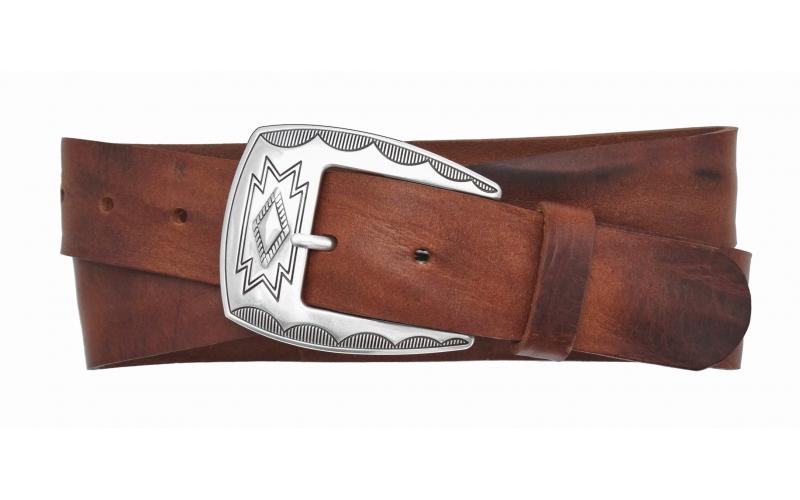 Westerngürtel aus Leder braun mit Schnalle Dakota