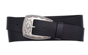 Westerngürtel aus Büffelleder schwarz mit Schnalle Dakota