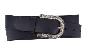 Jeansgürtel aus Büffelleder schwarz mit Muster Dornschnalle