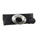 Damen Gürtel aus Leder schwarz mit Schnalle Stein