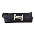 Damen Gürtel aus Leder schwarz mit H Schnalle